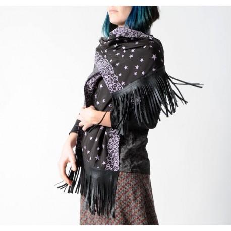 Etole artisanale made in france noire et mauve à franges de cuir jeune créateur commande en ligne