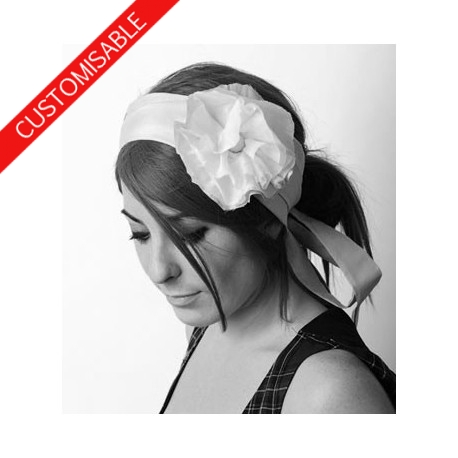 Wide Headwrap with large flower - CUSTOM HANDMADE