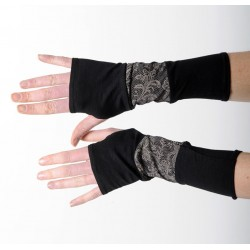 Long jersey armwarmers in a patchwork of black and lace print jersey
