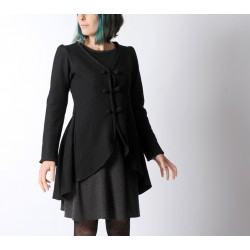 Veste redingote dos plissé tissu laine bouillie noire