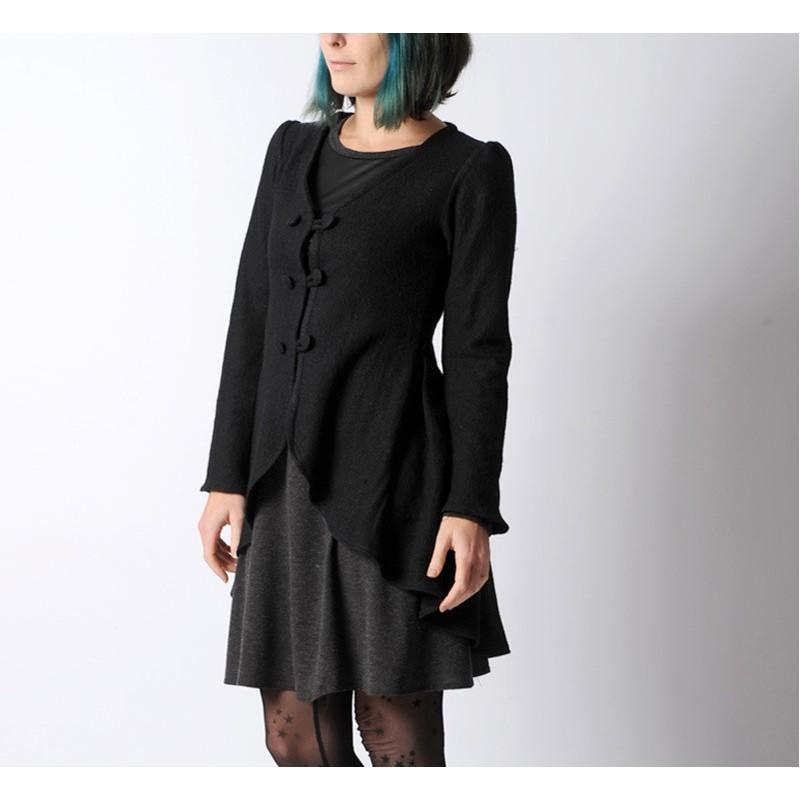 gilet long noir veste redingote dos pliss lainage. Black Bedroom Furniture Sets. Home Design Ideas