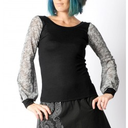 Black top with long lace print sheer sleeves