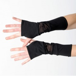 Long black armwarmers in a patchwork of black jersey and starry lace - long stretchy fingerless gloves