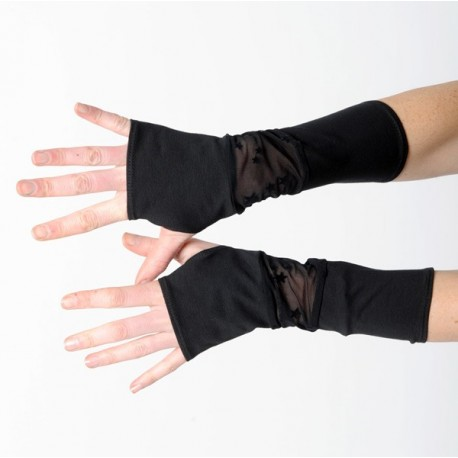 Black womens fingerless gloves with stars