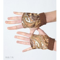 Rust brown vintage paisley fingerless gauntlets