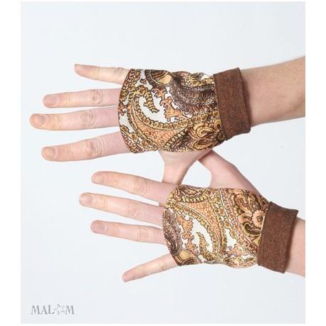 Womens short brown fingerless gloves