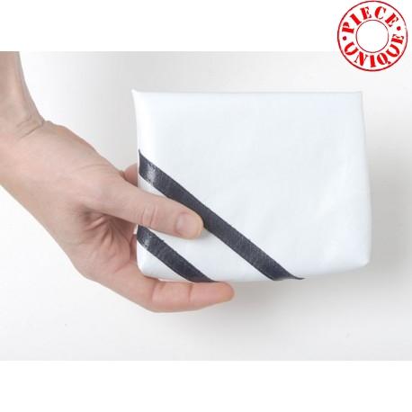 Pochette cuir range masque en tissu pour sac à main, blanche et rayée Made in Francelanc rayures bleu marine