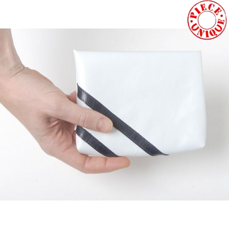 White leather medium sized pouch with dark blue stripes