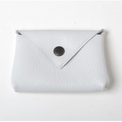 White leather small pouch for cards or coins