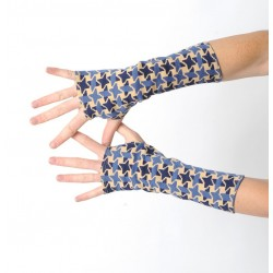 Houndstooth jersey fingerless gloves in vintage blue ad beige fabric