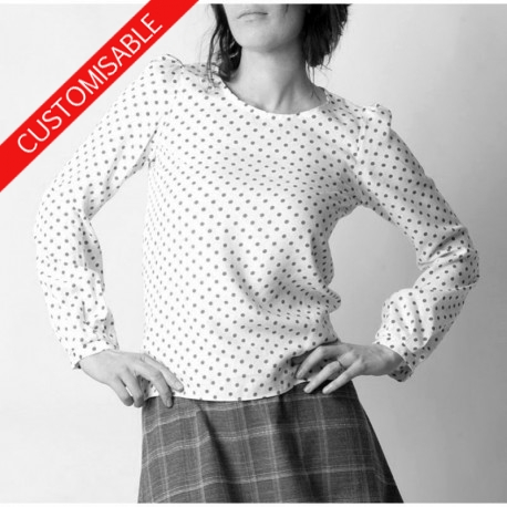 Supple womens blouse with long sleeves - CUSTOM HANDMADE