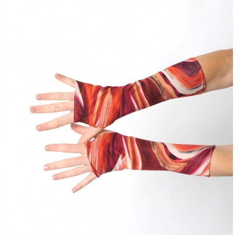 Colorful jersey fingerless gloves in red and orange