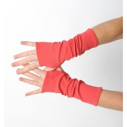 Coral red long jersey armwarmers or fingerless gloves