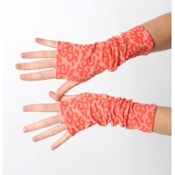 Fun coral red long jersey armwarmers with swirls
